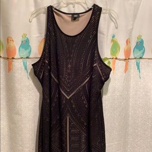 Black geometric print tank dress